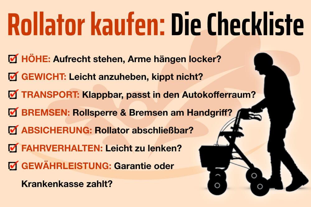 Rollator Kaufen Auswahl Checkliste Preis Grafik