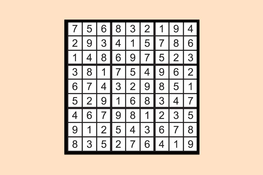 Sudoku Raetsel Mittel 4 Loesung