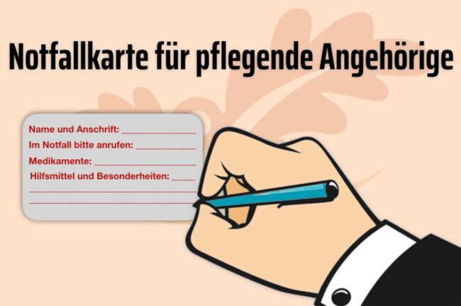 Notfallkarte für pflegende Angehörige: Das bringt sie