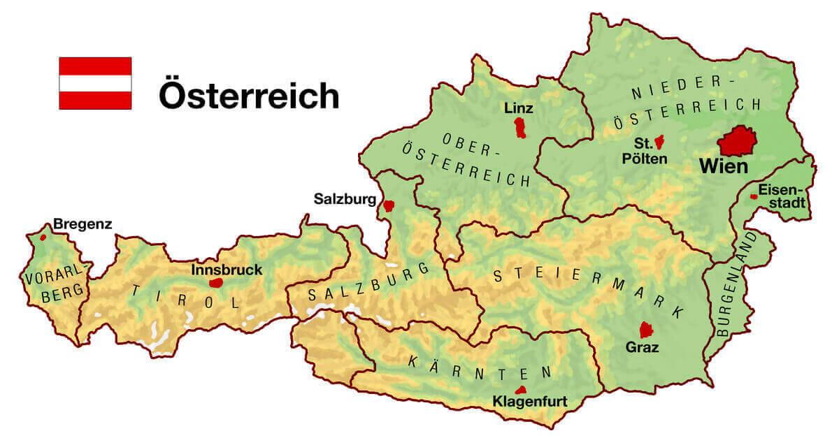 Oesterreich Karte Bundeslaender Urlaub