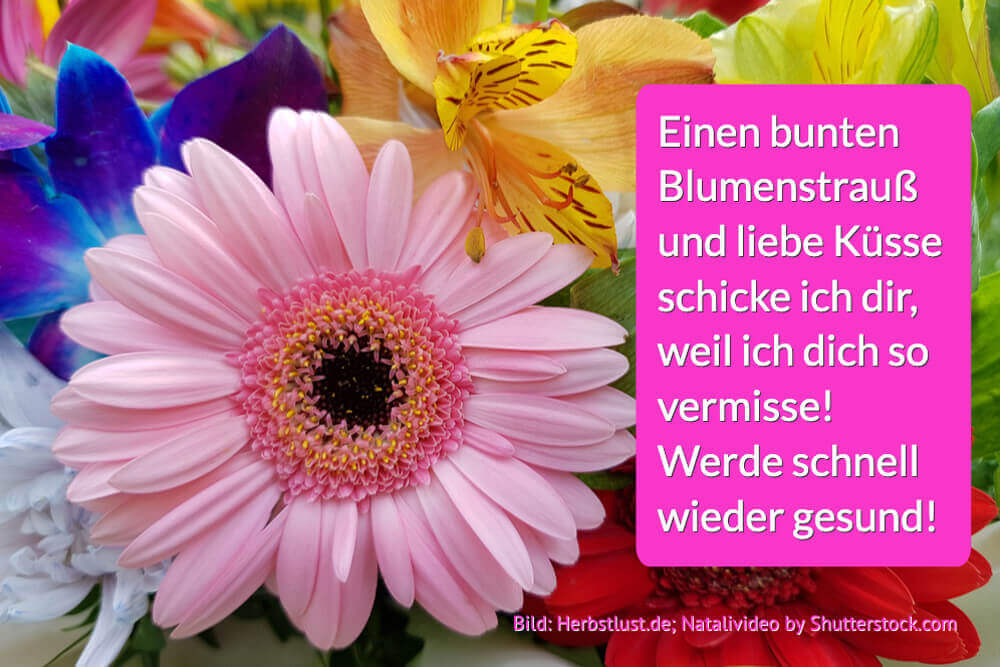 Genesungswunsch Blumenstrauss Und Kuesse Gute Besserung